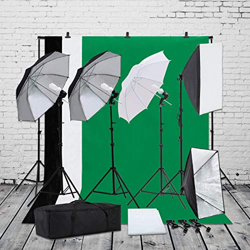 SUNCOO Photo Studio Photography Lighting Kit, Background Support Stand Kit 6.6ft x 10ft, Green Screen with Stand,Umbrellas Softbox Muslin Continuous Light Kit Case Portfolio Video Shooting, 4 Bulbs from SUNCOO