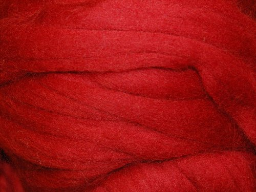 Cherry Red merino wool roving/tops - 50gm. Great for wet felting / needle felting, and hand spinning projects. The Wool Barn