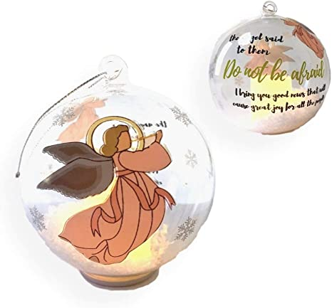 Amazon Com Banberry Designs Angel Led Ornament Light Up Glass Ball Ornament With Glitter Snow Angel Design With The Expression The Angel Said To Them Kitchen Dining
