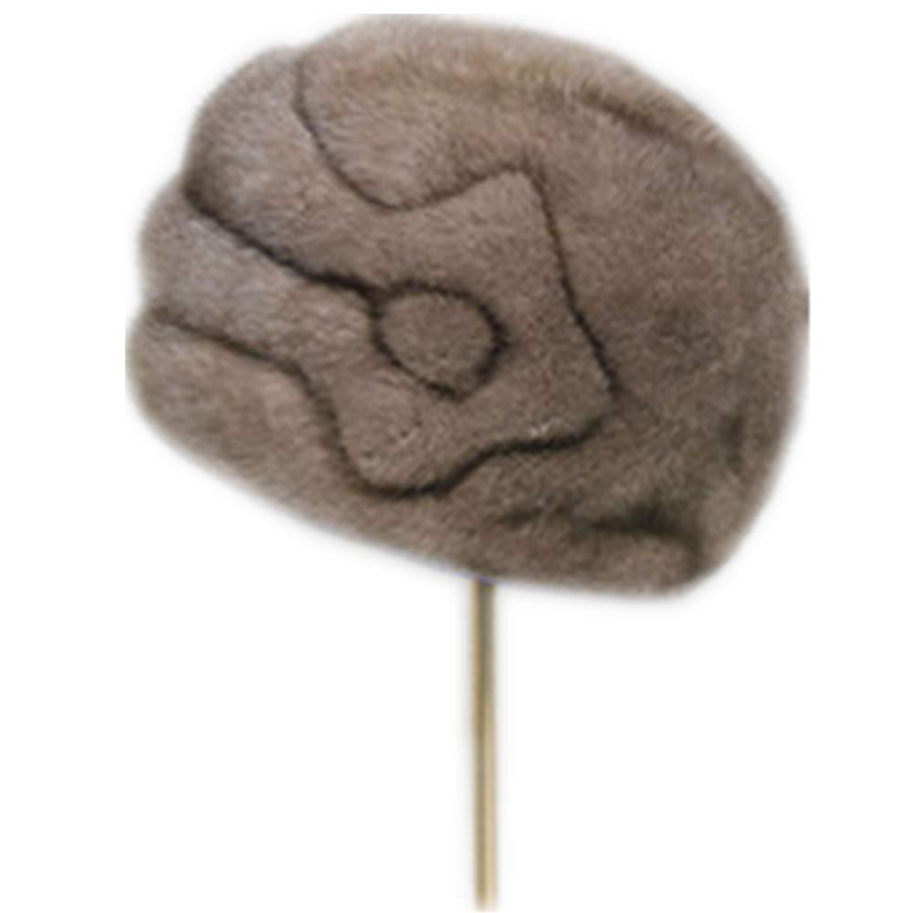 MH Bailment Whole Skin Mink Fur Women's Hat Mutiple Color (S(53-55cm), Dark Grey)