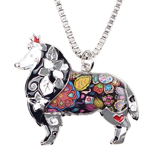Bonsny Love Heart Enamel Zinc Alloy Metal Sheltie Rough Collie Necklace Dog Animal pendant 18
