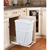 kitchen cabinet garbage pull out - Rev-A-Shelf 35 QT Pullout Lid Waste Containers, White