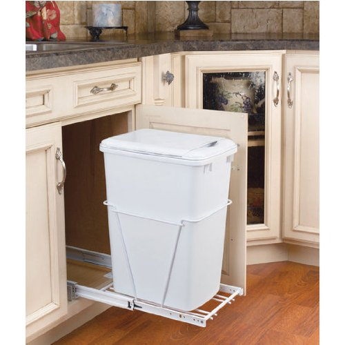 Rev-A-Shelf 35 QT Pullout Waste Container with Lid, White - Pull Out Recycling