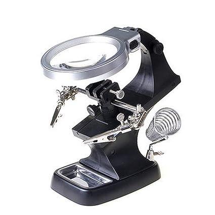 Remaxm Lupa LED de Soldadura, Soporte de Soldadura de Lupa LED, Pinza de cocodrilo