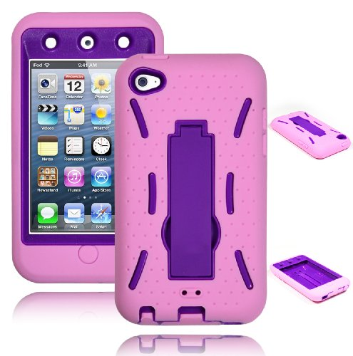 Bastex Heavy Duty Hybrid Case for Touch 4, 4th Generation iPod Touch - Pink Silicone / Purple Hard Shell with Kickstand