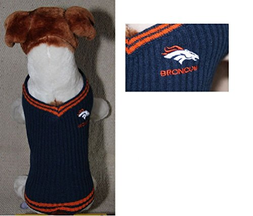 Denver Broncos NFL Dog Sweater Vest Pet Embroidered Football Sizes Xs - L