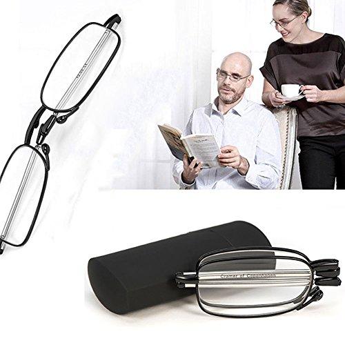 Portable Folding Reading Glasses Fashion Stylish Men Women Readers Rotation Eyeglass Eyewear with Mini Flip Top Fold Up Glasses Carrying Case - Glasses Fold Up