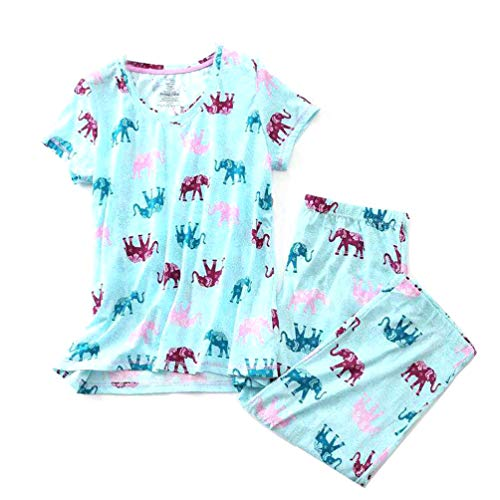 ENJOYNIGHT Women's Sleepwear Tops with Capri Pants Pajama Sets (XX-Large, Elephant)