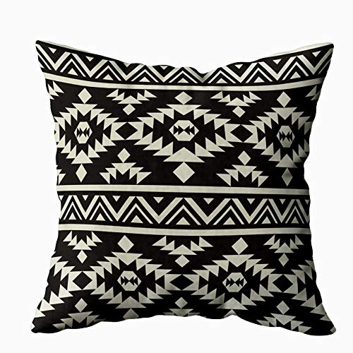 TOMKEY Joy Pillow Case, Hidden Zippered 20X20Inch Ethnic Pattern Decorative Throw Cotton Pillow Case Cushion Cover for Home Decor (Difference Between African And African American Culture)