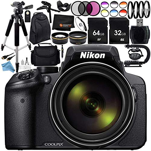Nikon COOLPIX P900 Digital Camera with 83x Optical Zoom and Built-In Wi-Fi (Black) + Ultimate 96GB Accessory Kit. Includes 2X SanDisk Ultra Memory Cards + Wide Angle & Telephoto Lenses + MUCH MORE from Nikon