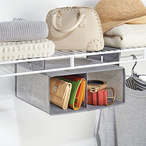 mDesign - Organizador colgante de tela, para almacenamiento en armario, repisa para estante metálico, 2 compartimientos - Gris: Amazon.es: Hogar