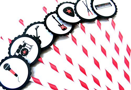 Red and Black Rockstar Party Straws - Set of 12 (Rockstar Party Theme)
