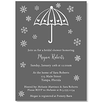 Amazon winter bridal shower invitations umbrella wedding winter bridal shower invitations umbrella wedding gray white grey snowflakes filmwisefo