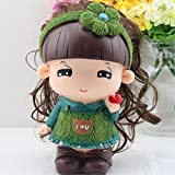 Green Kawaii Cute Cartoon A doll Piggy Bank Resin Personalized Baby Nursery Decor Home Furnishing decoration
