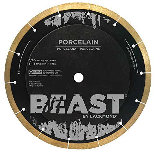 "Lackmond Beast Pro Porcelain Saw Blade - 10"" Hard Tile Cutting Tool with Thin Kerf Cutting Edge & 5/8"" Arbor - BP10"