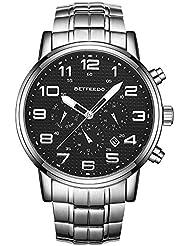 BETFEEDO Watches Men Luxury Brand Chronograph Men Sports Watches Waterproof Full Steel Quartz Mens Watch (Black)