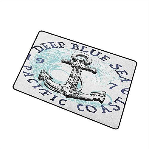 - Wang Hai Chuan Anchor Commercial Grade Entrance mat Deep Blue Sea Pacific Coast Vintage Emblem from 1976 Grungy Display for entrances garages patios W31.5 x L47.2 Inch Dark Blue Pale Blue Black