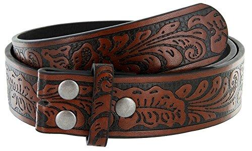 Western Floral Embossed Vintage Soft Genuine Leather Belt Strap 1-1/2 (Brown, 32) ()