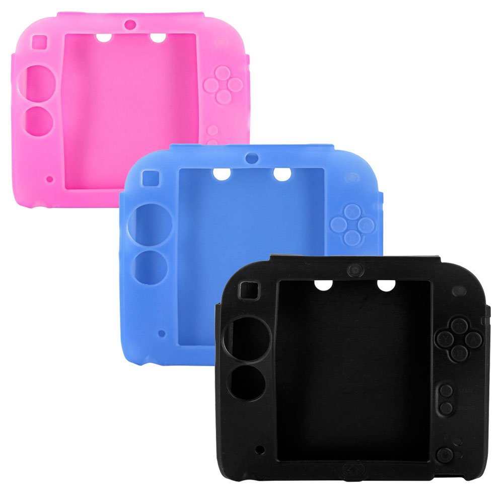 3Packs Protective Soft Silicone Rubber Gel Skin Case Cover for Nintendo 2DS (BL+BU+PI)