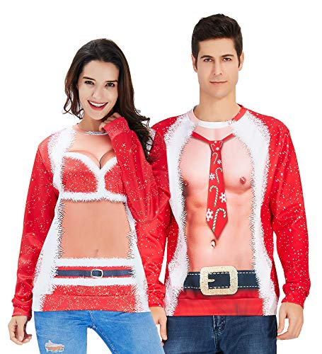 Mens Ugly Christmas Sweater Red Fake Two Pieces Stylish Fancy Design White Fair Decor Long Sleeve Open-Collar Cool Loose Fit Sweatshirts Soft Comfy Boys Blouse for Xmas Party M Juniors]()