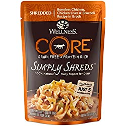 Wellness Natural Pet Food 1240 Pouch CORE Simply Shreds Natural Grain Free Wet Dog Food Mixer or Topper, 2.8