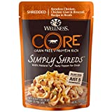 Wellness CORE Simply Shreds Natural Grain Free Wet Dog Food Mixer or Topper, Chicken, Chicken Liver & Broccoli, 2.8-Ounce Pouch, (Pack of 12)