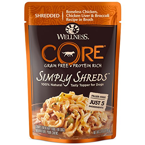 Wellness CORE Simply Shreds Natural Grain Free Wet Dog Food Mixer or Topper, Chicken, Chicken Liver & Broccoli, 2.8-Ounce Pouch