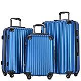 Resena Luggage 3 Piece Set Suitcase Spinner Hardshell Lightweight (Blue)