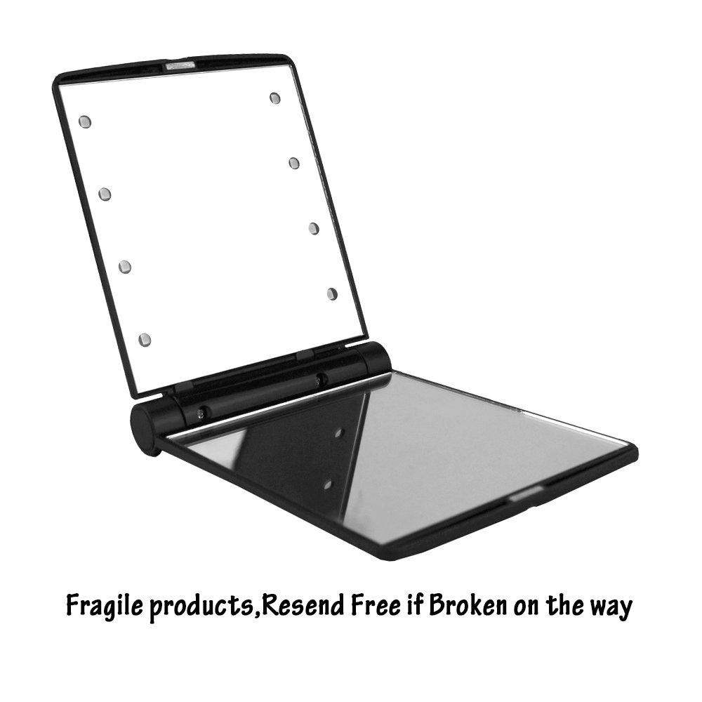 EYX Formula Fashion Girls 8 LED Makeup Mirror Desktop Mirror,Portable Folding Travel Mirror Compact Mirror for Face Beauty