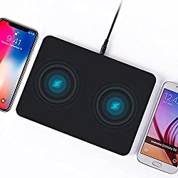 Dual Wireless Charging Pad, Dinhey Dual Wireless Charger Pad for iPhone X iPhone 8 Plus iPhone 8 Samsung Note8 S8 S8 Plus S7 S7 Edge S6 S6 Edge and Other Qi-enabled Device(AC Adapter Included)