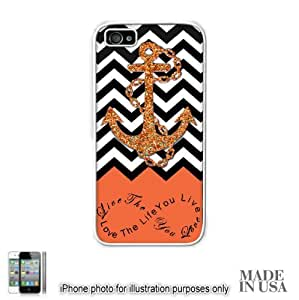 Anchor Live the Life You Love Infinity Quote - Orange Black White Chevron with Anchor (Not Actual Glitter) iphone 5c Hard Case - WHITE by Unique Design Gifts