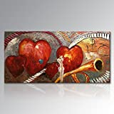 Hand Painted Textured Music Oil Painting on Canvas Red Heart in Love Modern Musical Wall Art Abstract Artwork Unframed 60x30 inch