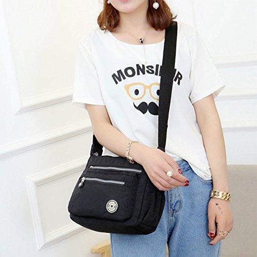 Body Multi Messenger Fueerton Bags Casual Womens Cross Pocket Black Bag Shoulder Nylon qEqw78C