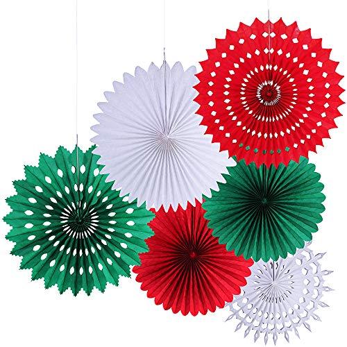 Windiy Supla 6 Pcs Fan Paper Flowers Fan Decorative Party Fan Set -