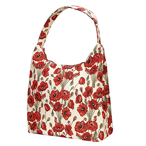 Poppy POP Signare Flowers Shoulder Beach HOBO Zip Top Bag Women Tapestry Hobo PSnwPxRq8