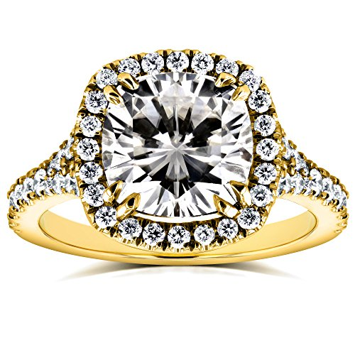 (Cushion Moissanite and Diamond Halo Cathedral Ring 3 1/3 CTW in 14k Yellow Gold, Size 10.5, Yellow Gold)