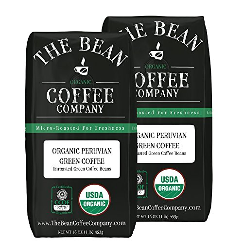 The Bean Coffee Company Organic Green Coffee Beans, Peruvian, 16-Ounce