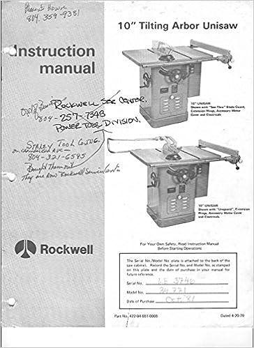 Delta Rockwell Unisaw Model 34 771 Instruction Manual Instructions
