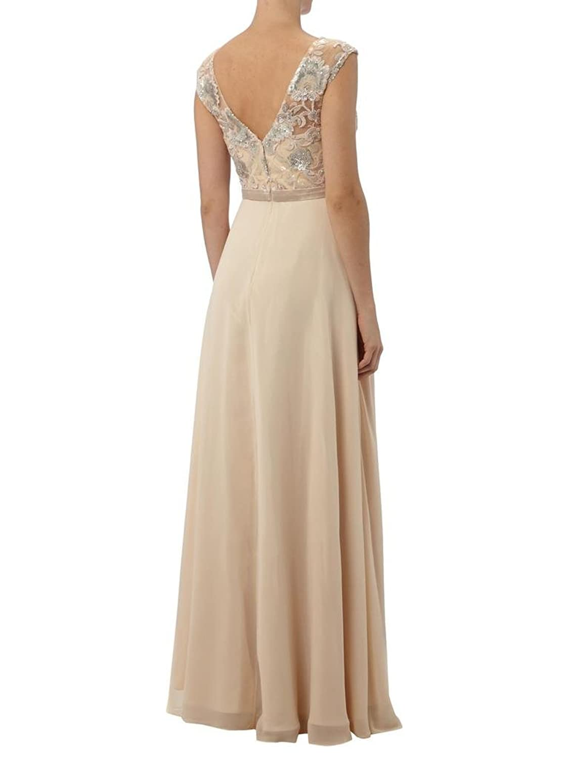 Charm Bridal Chiffon Lace Women Evening Dresses Mother of Bride Sleeveless Long