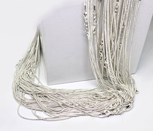 - 20 Inch Snake Chains Bulk Package of 10 - .925 Stamped Sterling Silver Snake Chains - Snake Chains Bulk - Bulk Sterling Plated Snake Chains (10)