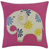 Vivai Home Pink Circus Elephant Square 16x 16 Feather Cotton Pillow