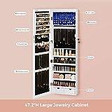 "SONGMICS 6 LEDs Mirror Jewelry Cabinet, 47.3""H"