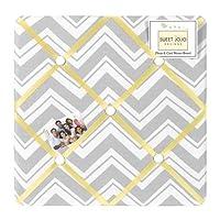 Yellow and Gray Chevron Zig Zag Fabric Memory/Memo Photo Bulletin Board by Sw...