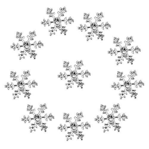 10pcs 14mm Crystal SnowFlake Buttons For Scrapbooking Craft Hair Clip Decor