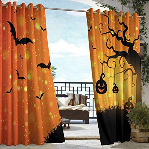 DILITECK Drape for Pergola Curtain Halloween Magical Fantastic Evil Night Icons Swirled Branches Haunted Forest Hill for Patio/Front Porch W96 xL72 Orange Yellow Black]()