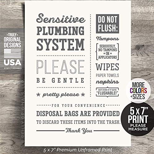 5x7 *UNFRAMED PRINT* Cute Do not Flush Bathroom Sign Septic System Sensitive Plumbing Disposal Bags No Feminine Sanitary Products Tampons Paper Towels Decor Hotel Restaurant airbnb Art Toilet Gentle