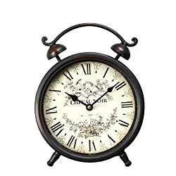 Asense Brown Iron Alarm Clock Cheval Noir Old World-Inspired Style Wall Hanging or Table Clock with Roman Numerals