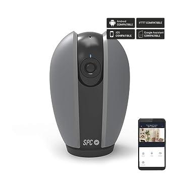 SPC Teia- Cámara de seguridad inteligente Wi-Fi (360º de visión, visión nocturna 10m, alarma de movimiento, 720p HD, dual speaker, control remoto ...