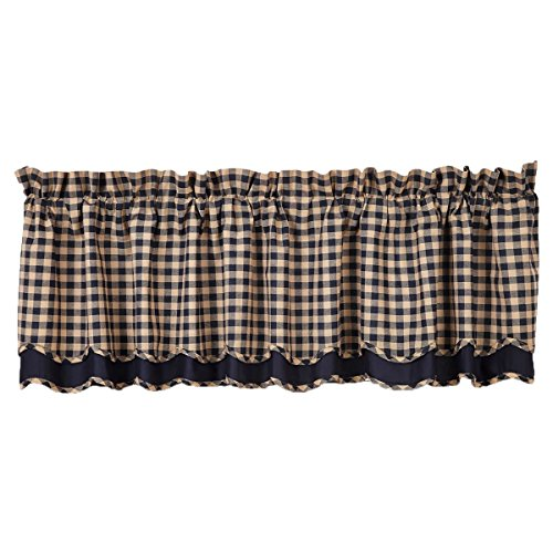 (VHC Brands Classic Country Primitive Kitchen Window Curtains - Check Blue Scalloped Valance Navy)