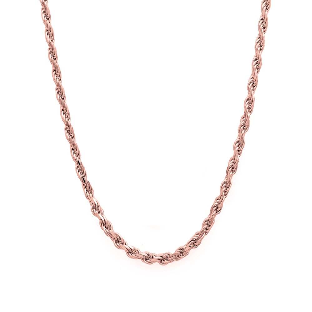 14k Rose Gold Diamond Cut Hollow Rope 016 2MM 22'' Chain